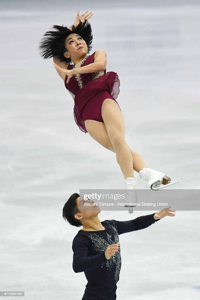 Wenjing Sui and Cong Han of China compete in the Pairs shrot program during the ISU Grand Prix of Figure Skating at on November 10, 2017 in Osaka, Japan.