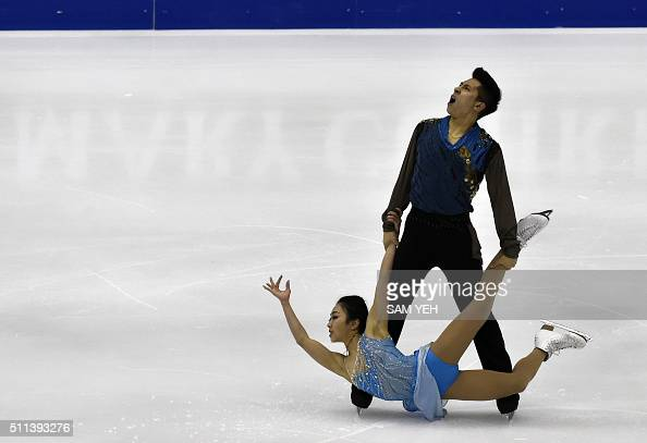 TOPSHOT Wenjing Sui and Cong Han of China perform at the Pairs Free Skating during the ISU Four Continents Figure Skating Championships in Taipei on...