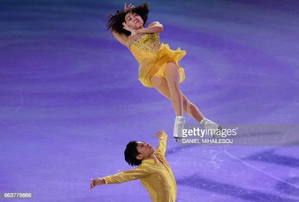TOPSHOT Wenjing Sui and Cong Han of China perform during the Gala show at the end of the ISU World Figure Skating Championships 2017 in Helsinki...
