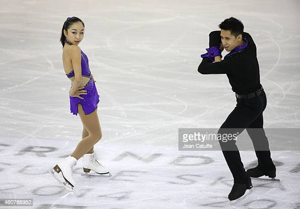 Wenjing Sui and Cong Han of China perform during the Pairs Short Program final on day one of the ISU Grand Prix of Figure Skating Final 2014/2015 at...