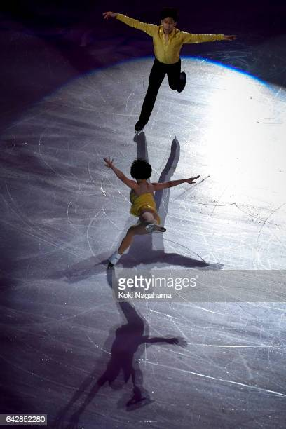 Wenjing Sui and Cong Han of China pserform in the Exhibition program during ISU Four Continents Figure Skating Championships Gangneung Test Event For...