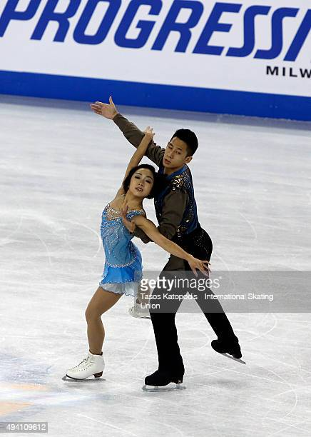 Wenjing Sui and Cong Han of China skate in pairs free skating during day two of the Progressive Skate America ISU Grand Prix of Figure Skating on...