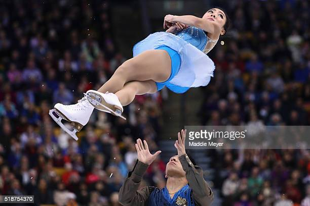 Wenjing Sui and Cong Han of China skate in the Pairs Free Skate on Day 6 of the ISU World Figure Skating Championships 2016 at TD Garden on April 2...