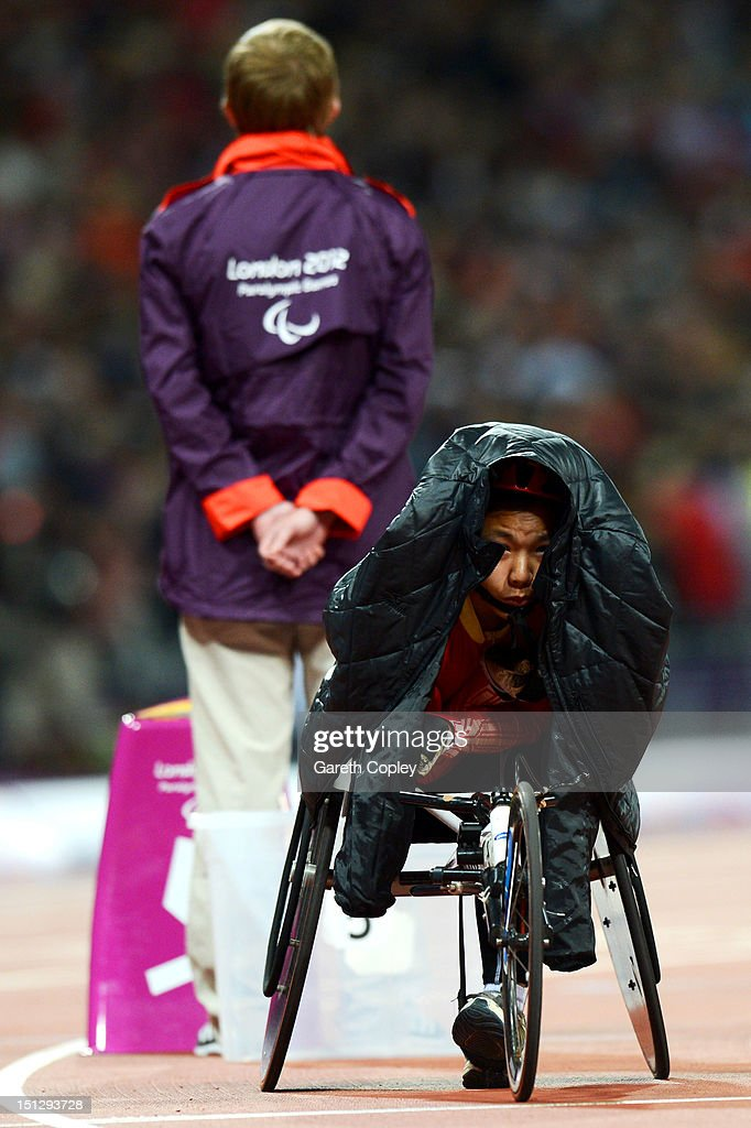 Wenjun Liu of China looks on prior to the Women's 800m T54 Final on day 7 of the London 2012 Paralympic Games at Olympic Stadium on September 5, 2012 in London, England.