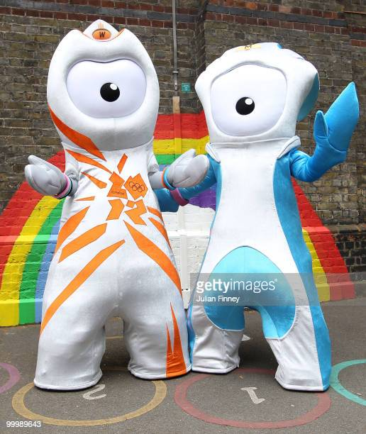 Wenlock the Olympic mascot and Mandeville the Paralympic mascot are unveiled at St Pauls Whitechapel C of E Primary School Tower Hamlets on May 19...