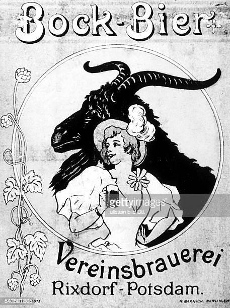 Werbung für Bockbier der VereinsbrauereiRixdorf undatiert