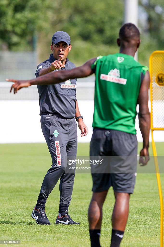 Werder Bremen coach, <a gi-track='captionPersonalityLinkClicked' href=/galleries/search?phrase=Robin+Dutt&family=editorial&specificpeople=3175490 ng-click='$event.stopPropagation()'>Robin Dutt</a> reacts during a training session on July 2, 2013 in Norderney, Germany.