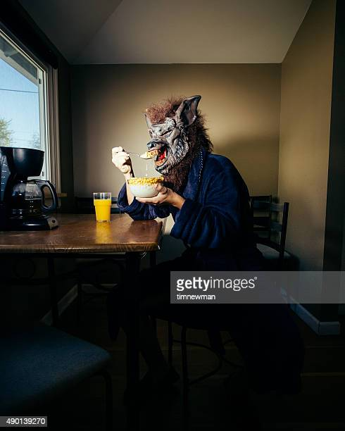 Werewolf Man Eating Breakfast On a Lazy Weekend Morning