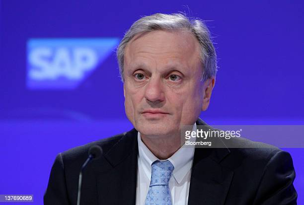 Werner Brandt chief financial officer of SAP AG pauses during a news conference in Frankfurt Germany on Wednesday Jan 25 2012 SAP AG the biggest...