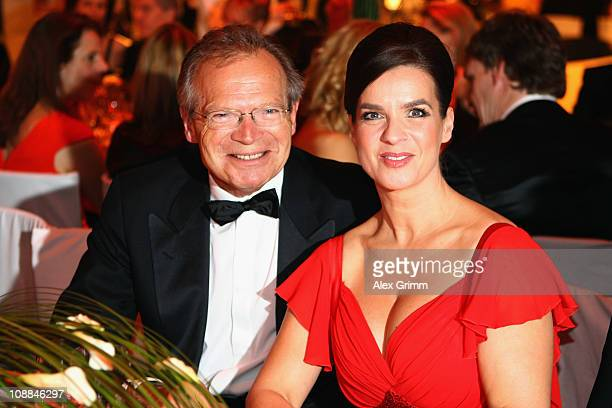 Werner E Klatten head of the Deutsche Sporthilfe and Katarina Witt pose during the 20011 Sports Gala 'Ball des Sports' at the RheinMain Hall on...