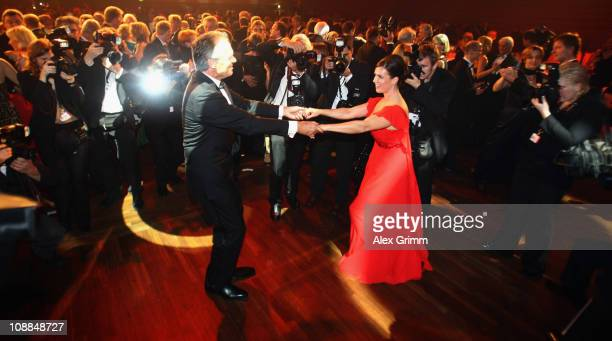 Werner E Klatten head of the Deutsche Sporthilfe dances with Katarina Witt during the 20011 Sports Gala 'Ball des Sports' at the RheinMain Hall on...