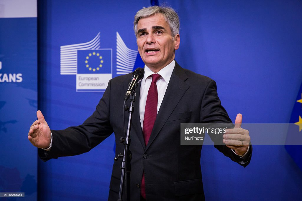 Werner Fayman Federal Chancellor of Austria at the miniSummit in Brussels Belgium on October 25 2015