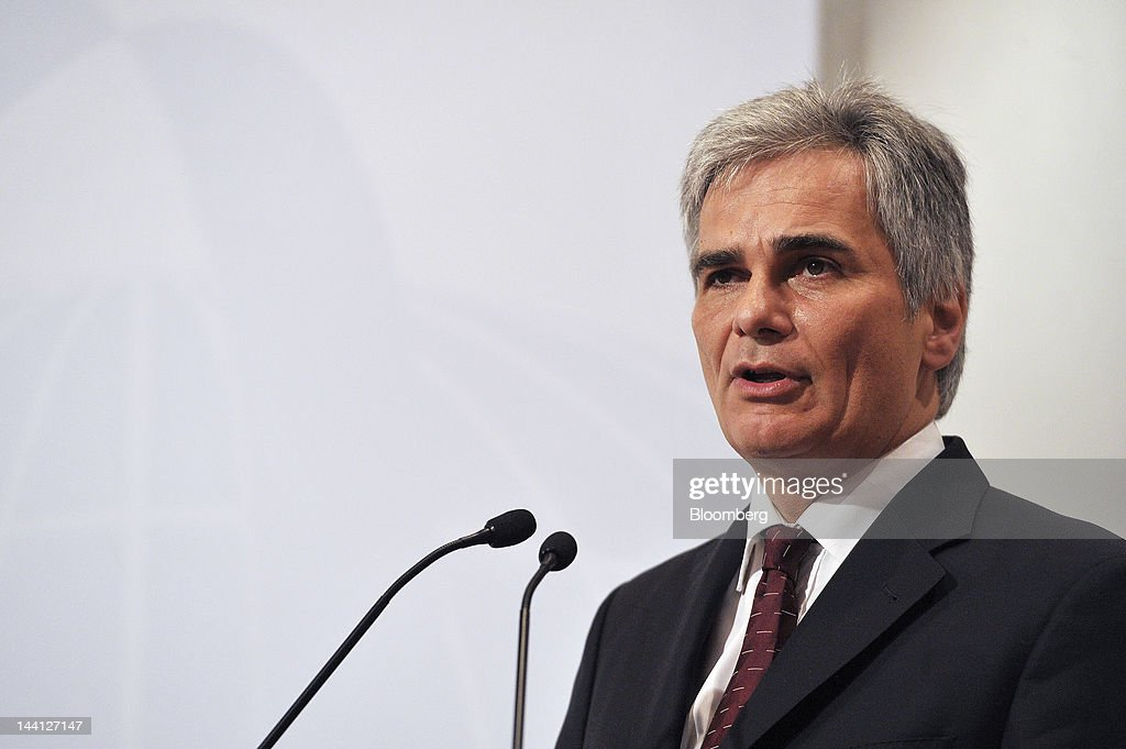 <a gi-track='captionPersonalityLinkClicked' href=/galleries/search?phrase=Werner+Faymann&family=editorial&specificpeople=4101130 ng-click='$event.stopPropagation()'>Werner Faymann</a>, Austria's chancellor, speaks during the Oesterreichische Nationalbank's 40th Economics Conference in Vienna, Austria, on Thursday, May 10, 2012. Austrian Central Bank Governor and European Central Bank Governing Council member Ewald Nowotny said European countries that received bailouts need to make a 'maximum effort' to better their fiscal situation. Photographer: Martin Schalk/Bloomberg via Getty Images