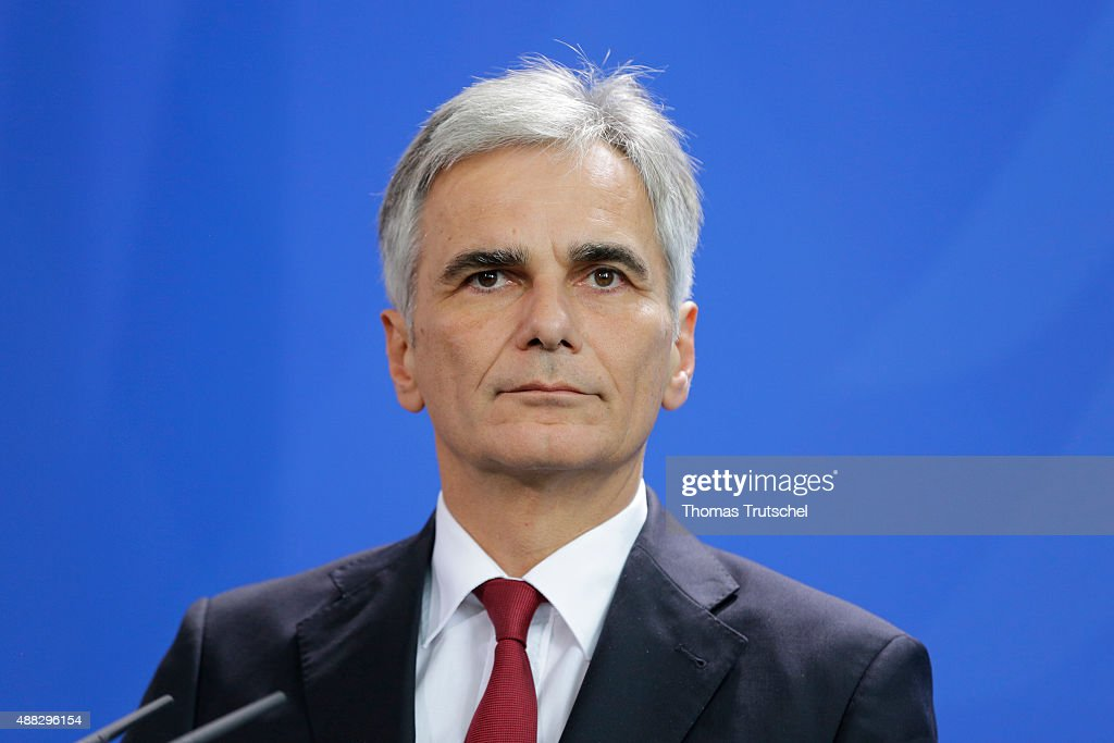 Werner Faymann Austria's chancellor speaks to the media after his meeting with German Chancellor Angela Merkel on September 15 2015 in Berlin Germany