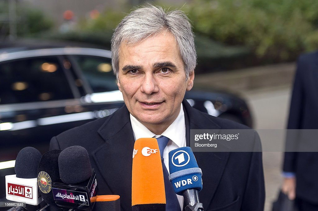 Werner Faymann, Austria's chancellor, speaks to the media as he arrives for the European Union (EU) leaders summit at the European Council headquarters in Brussels, Belgium, on Friday, Nov. 23, 2012. European Union leaders deadlocked over the bloc's next seven-year budget, adding to the quarrels between rich and poor countries that have stymied the response to the euro debt crisis. Photographer: Jock Fistick/Bloomberg via Getty Images