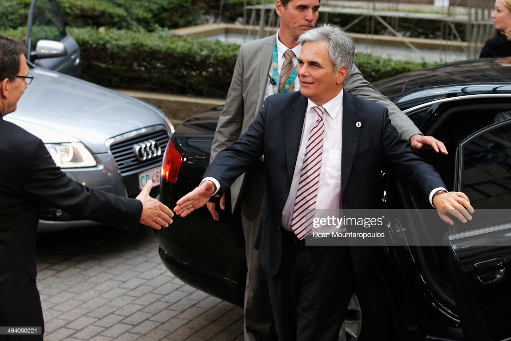 Werner Faymann Federal Chancellor of Austria arrives for the Informal Dinner of Heads of State or Government held at the Justus Lipsius Building on...