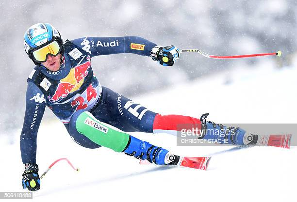 Werner Heel from Italy competes during the FIS Alpine Ski World Cup Men's Downhill on January 23 2016 in Kitzbuehel Austria / AFP / Christof STACHE
