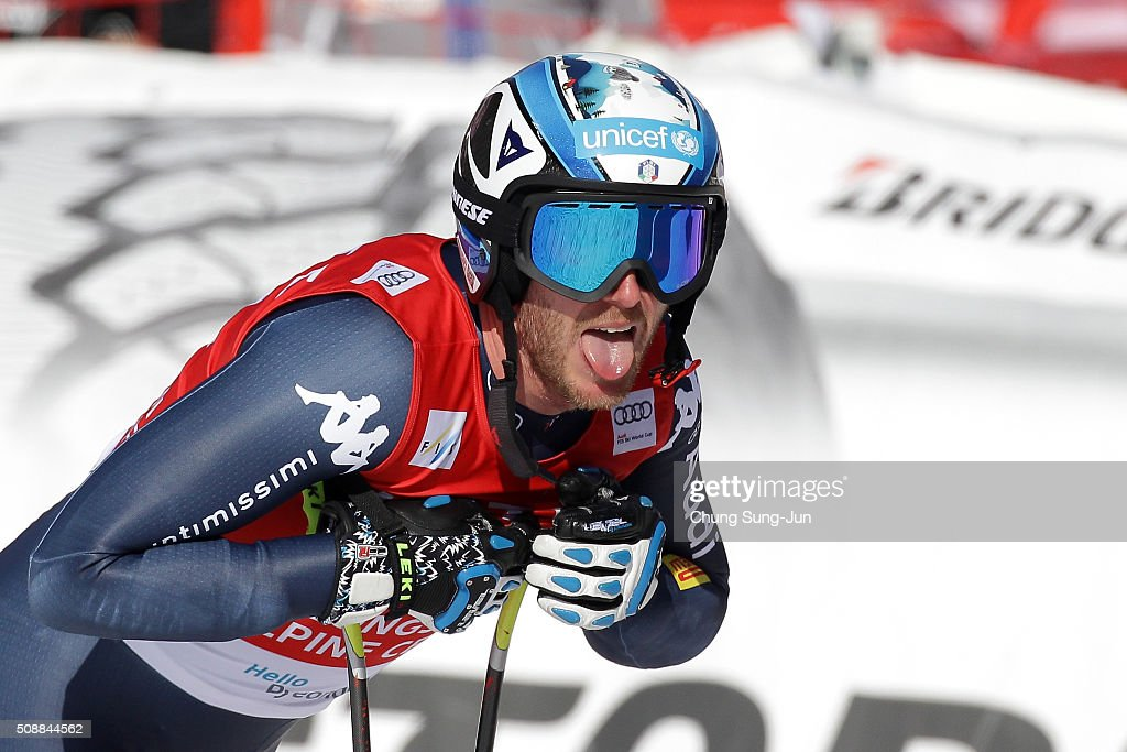 <a gi-track='captionPersonalityLinkClicked' href=/galleries/search?phrase=Werner+Heel&family=editorial&specificpeople=858153 ng-click='$event.stopPropagation()'>Werner Heel</a> of Italy reacts during the Men's Super G Finals during the 2016 Audi FIS Ski World Cup at the Jeongseon Alpine Centre on February 7, 2016 in Jeongseon-gun, South Korea.