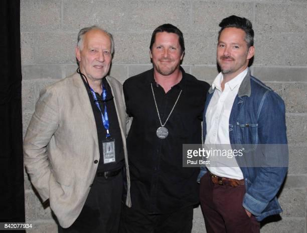 Werner Herzog Christian Bale and Scott Cooper attend the Telluride Film Festival 2017 on September 2 2017 in Telluride Colorado