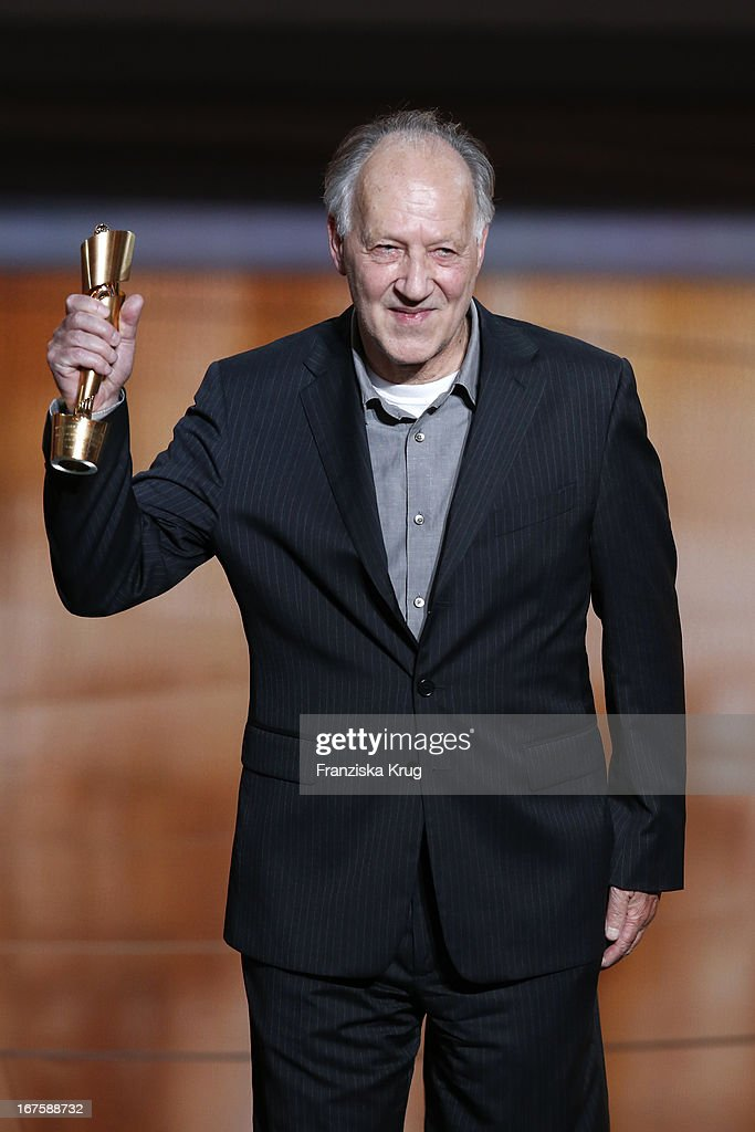 <a gi-track='captionPersonalityLinkClicked' href=/galleries/search?phrase=Werner+Herzog&family=editorial&specificpeople=213922 ng-click='$event.stopPropagation()'>Werner Herzog</a> receives an honor award at the Lola German Film Award 2013 at Friedrichstadt-Palast on April 26, 2013 in Berlin, Germany.