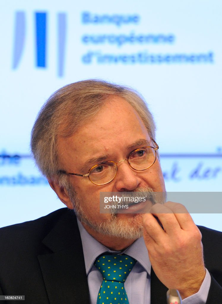 Werner Hoyer President of European Investment Bank (EIB) speaks during an annuel press conference at the EU Commission headquarters in Brussels on February 28, 2013.