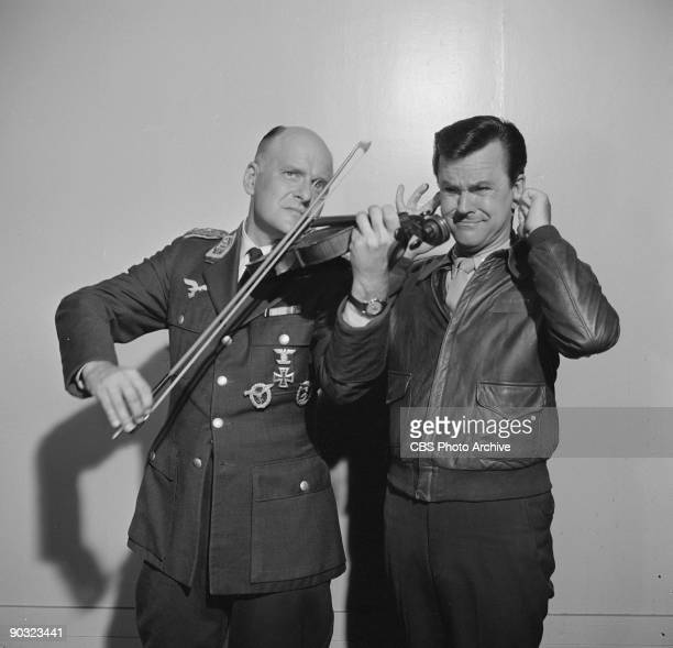 HEROES Werner Klemperer as Col Wilhelm Klink left and Bob Crane as Col Robert E Hogan in Movies Are Your Best Escape an episode from the CBS...