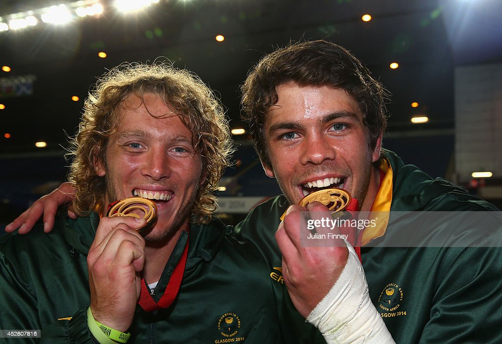 Werner Kok and Warren Whiteley of South Africa celebrate their win over New Zealand during the final match between South Africa and New Zealand at...