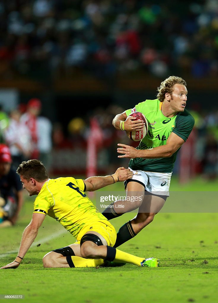 Werner Kok of South Africa in action against Australia in the Cup Final during day two of the Emirates Dubai Sevens HSBC Sevens World Series at The...