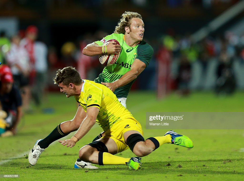 <a gi-track='captionPersonalityLinkClicked' href=/galleries/search?phrase=Werner+Kok&family=editorial&specificpeople=10918080 ng-click='$event.stopPropagation()'>Werner Kok</a> of South Africa in action against Australia in the Cup Final during day two of the Emirates Dubai Sevens - HSBC Sevens World Series at The Sevens Stadium on December 6, 2014 in Dubai, United Arab Emirates.