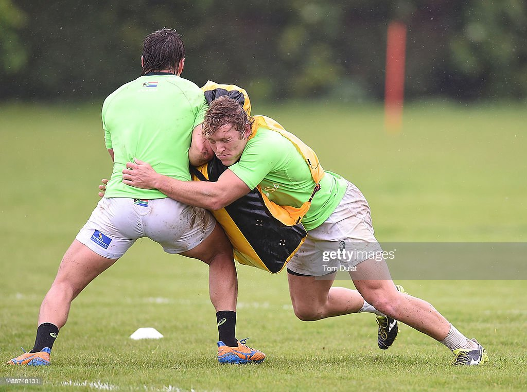 Werner Kok of South Africa in action during the South Africa Rugby 7's training session at the London Wasps training ground on May 08 2014 in Acton...