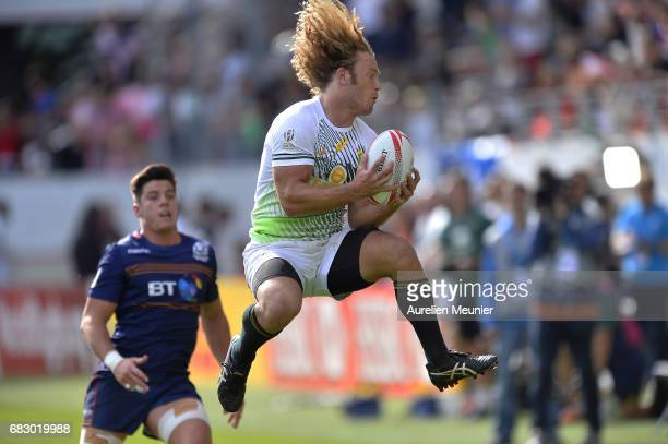 Werner Kok of South Africa jumps for the ball during the HSBC Paris sevens final match between Scotland and South Africa on May 14 2017 in Paris...
