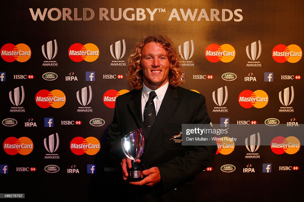 Werner Kok of South Africa poses after receiving the Men's 7's Player of the Year award during the World Rugby Awards 2015 at Battersea Evolution on...