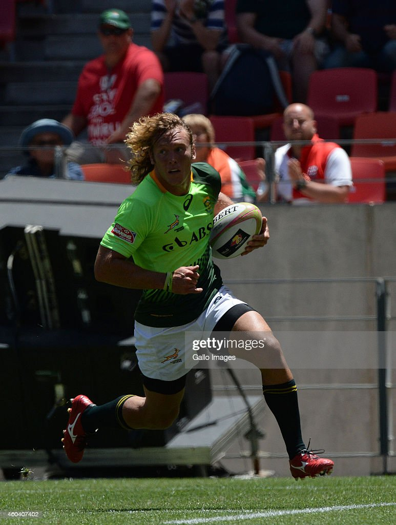 Werner Kok of South Africa runs in for a try during day 1 of the Cell C Nelson Mandela Bay Sevens Series at Nelson Mandela Bay Stadium on December 13...