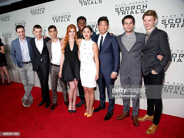 Wes Ball Jacob Lofland Alex Flores Dexter Darden Katherine McNamara Rosa Salazar Ki Hong Lee Dylan O'Brien and Thomas BrodieSangster attend 'Maze...