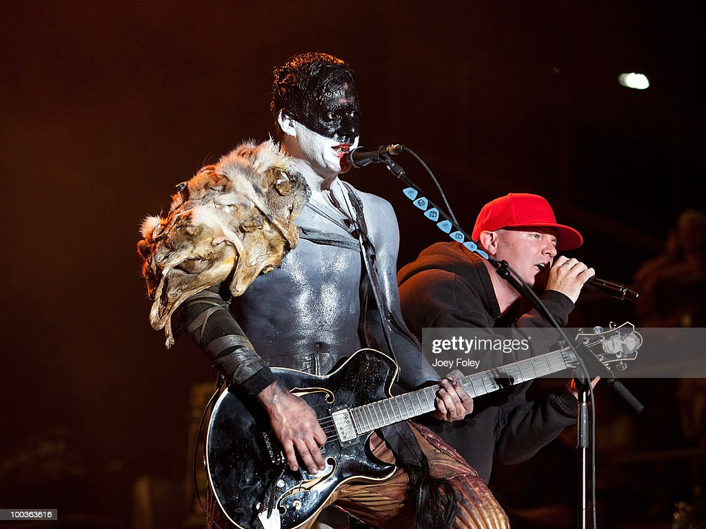 Wes Borland and Fred Durst of Limp Bizkit perform onstage during the 2010 Rock On The Range festival at Crew Stadium on May 23, 2010 in Columbus, Ohio.