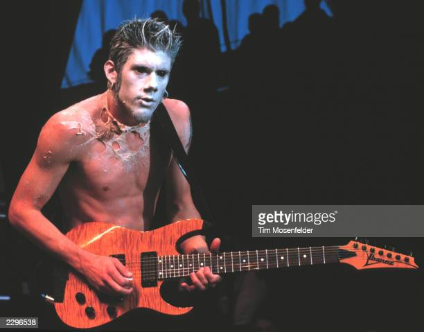 Wes Borland Guitarist for Limp Bizkit performing at Live 105's BFD 1999 at Shoreline Amphitheater in Mountain View Calif on June 18th 1999 Image By...