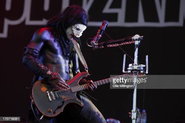 Wes Borland of Limp Bizkit performs a headline set at the end of Day 3 of The Download Festival at Donnington Park on June 16 2013 in Donnington...