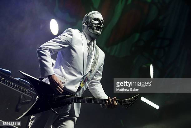 Wes Borland of Limp Bizkit performs on stage at the SSE Arena on December 16 2016 in London England