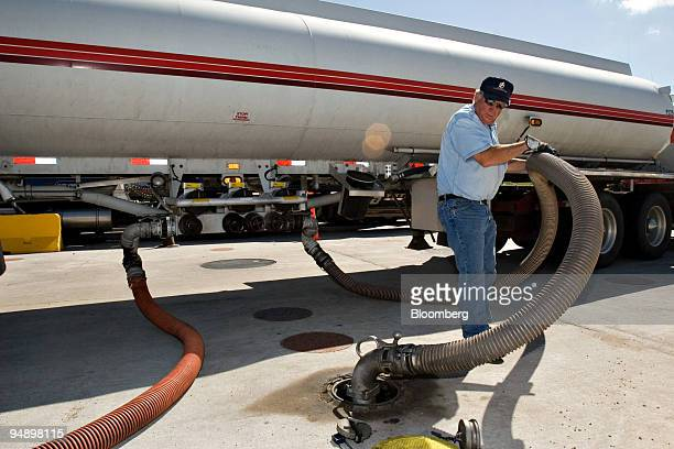 Wes Brigs of Flying J Transportation unloads a tank of fuel at the Flying J Travel Plaza in Fargo North Dakota Wednesday August 31 2005 Gasoline...