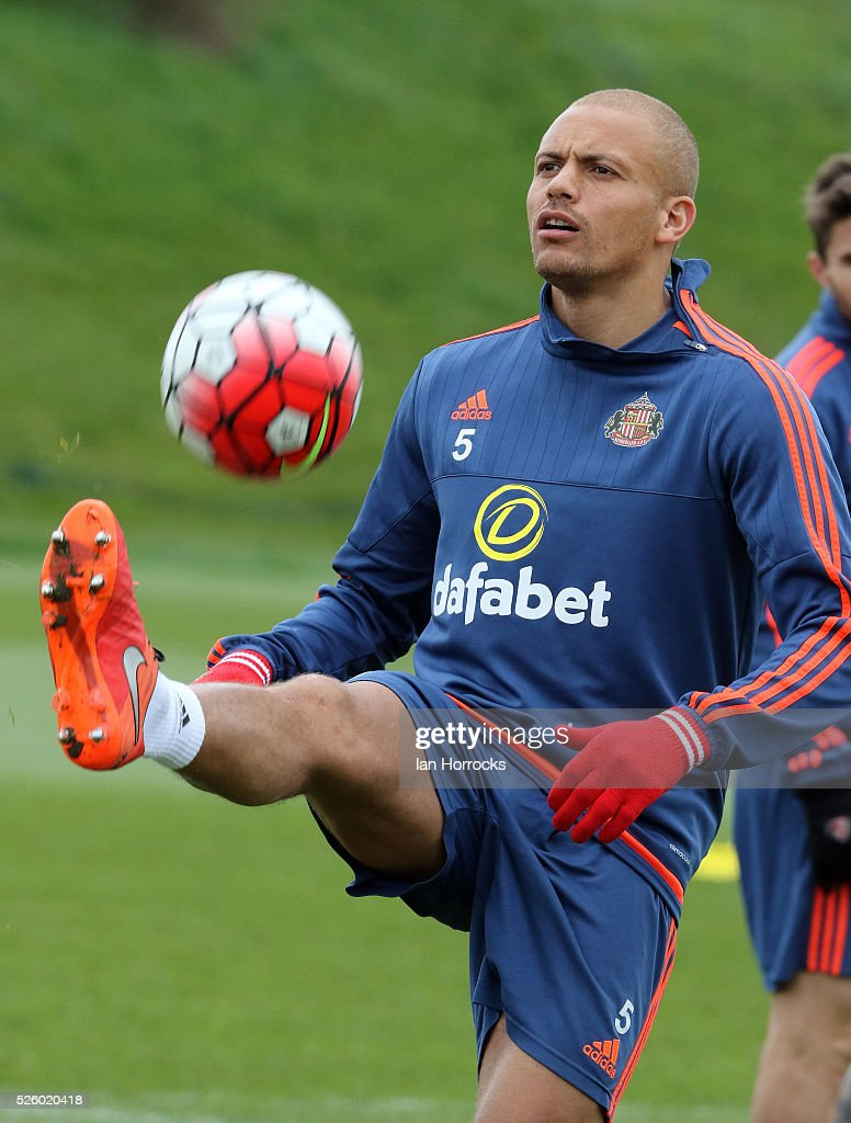 Wes Brown controls the ball during a Sunderland AFC training session at The Academy of Light on April 29, 2016 in Sunderland, England.