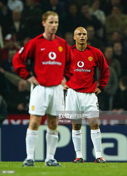 Wes Brown of Manchester United looks dejected as they restart the game after FCPorto score their first goal during the UEFA Champions League second...