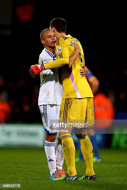 Wes Brown of Sunderland and Costel Pantilimon of Sunderland celebrate their team's 31 victory during the Barclays Premier League match between...