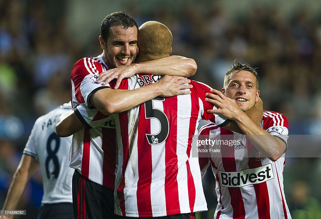 Wes Brown of Sunderland is congratulated by teammates after scoring a goal during the Barclays Asia Trophy Semi Final match between Tottenham Hotspur...