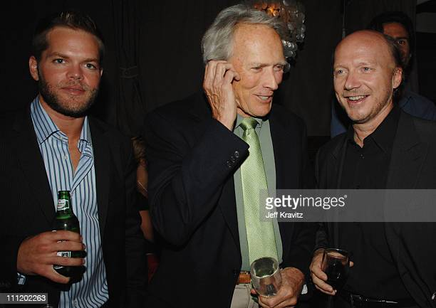 Wes Chatham Clint Eastwood and Paul Haggis attend the premiere of 'In The Valley Of Elah' at the Arclight Cinemas on September 13 2007 in Los Angeles...
