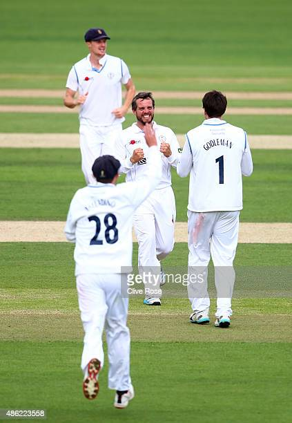 Wes Durston of Derbyshire celebrates his first wicket on day two of the LV County Championship Division Two match between Surrey and Derbyshire at...