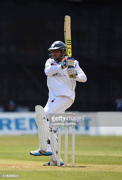 Wes Durston of Derbyshire hits out during the LV County Championship match between Derbyshire and Surrey at The County Ground on June 22 2015 in...