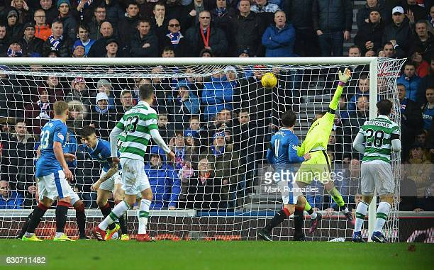 Wes Foderingham of Rangers fails to save as Moussa Dembele of Celtic scores his team's first goal during the Ladbrokes Scottish Premiership match...