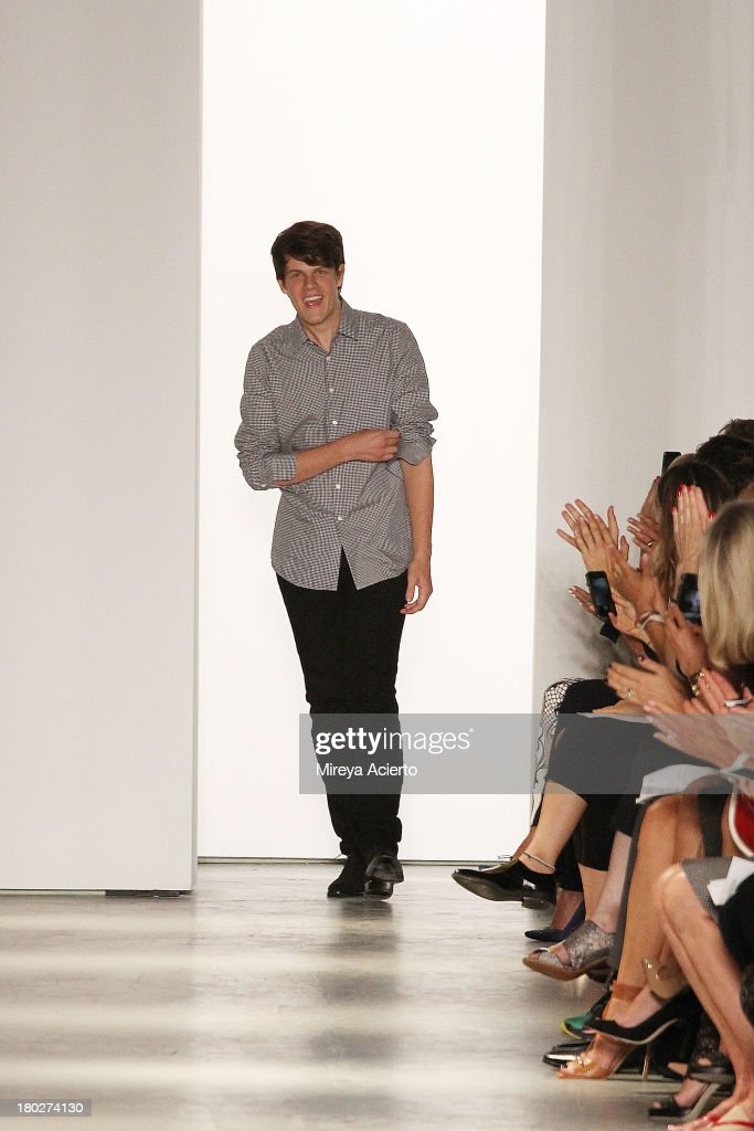 Wes Gordon enters the runway at the Wes Gordon Presentation during MercedesBenz Fashion Week Spring 2014 on September 10 2013 in New York City