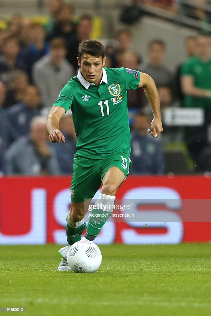 Wes Hoolahan of Ireland runs with the ball during the UEFA EURO 2016 Qualifier group D match between Republic of Ireland and Germany at the Aviva...