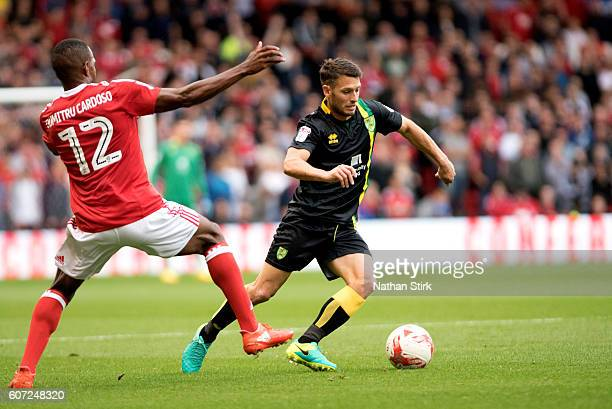 Wes Hoolahan of Norwich and Nicolao DumitruCardoso of Nottingham Forest in action during the Sky Bet Championship match between Nottingham Forest and...